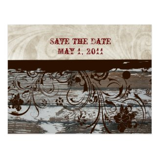 Wood and Parchment Swirl Brown Save the Date Postcard