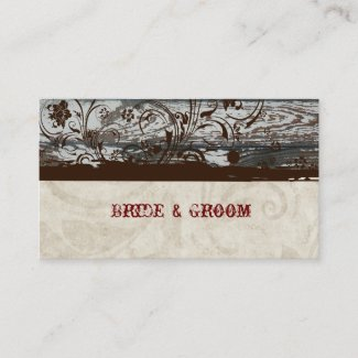 Wood and Parchment Swirl Place Cards