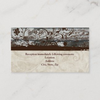 Wood and Parchment Swirl Reception Enclosure Card