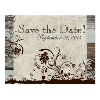 Wood and Parchment Swirl save the date Post Card