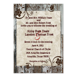 Wood and Parchment Swirl Wedding Invitations
