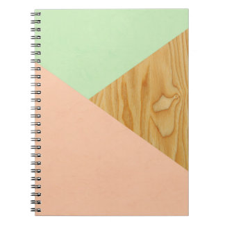 Wood and Pastel Abstract Spiral Notebook