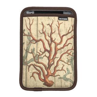 Wood and Small Coral iPad Mini Sleeve