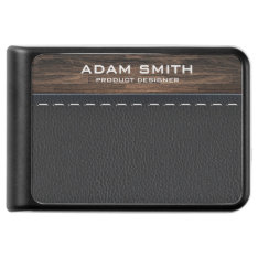 Wood And Stitched Leather Professional Modern Power Bank at Zazzle