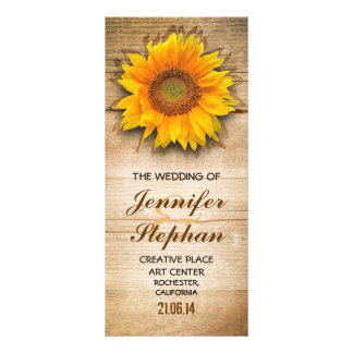 Wood and sunflower blossom wedding programs
