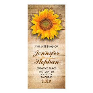 Wood and sunflower blossom wedding programs custom rack cards