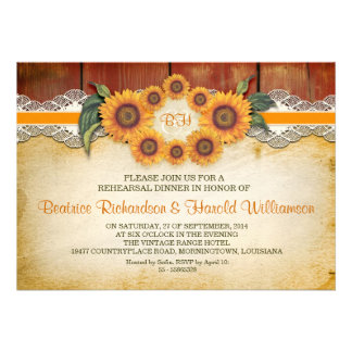 wood and sunflowers rehearsal dinner invitations