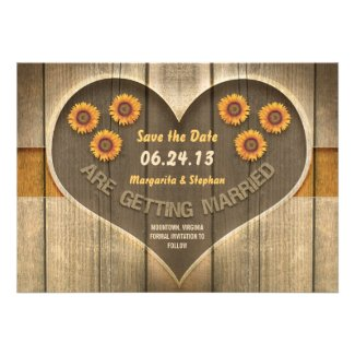 wood and sunflowers save the date design personalized invitations