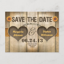 wood and sunflowers save the date invitations
