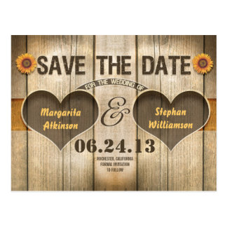 wood and sunflowers save the date invitations postcard