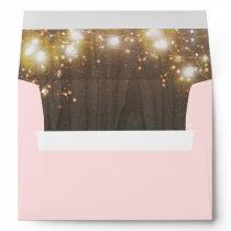 Wood and Twinkle String Lights Pink Envelope