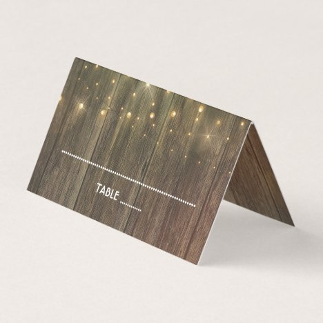 Wood and Wedding Lights Rustic Country Place Card