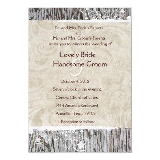 Wood and White Shabby Lace Wedding Invitation