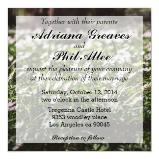"""Wood Anemone Flowers Meadow in The Woods 5.25"""" Square Invitation Card"""