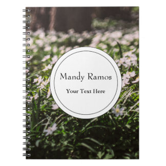 Wood Anemone Flowers Meadow in The Woods Spiral Notebook