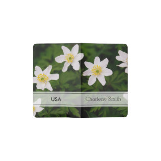 Wood Anemone White Flowers, Floral Photo Pocket Moleskine Notebook