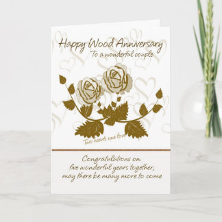 Wood Anniversary Card - 5th Anniversary Card