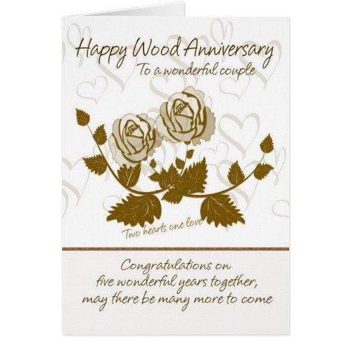 Wood Anniversary Card Th Anniversary Card Zazzle