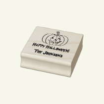 Wood art Halloween stamp with carved pumpkin face