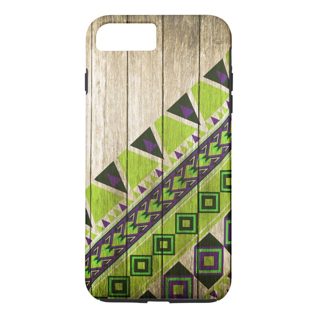 Wood Aztec Pattern Green iPhone 7 Plus Case