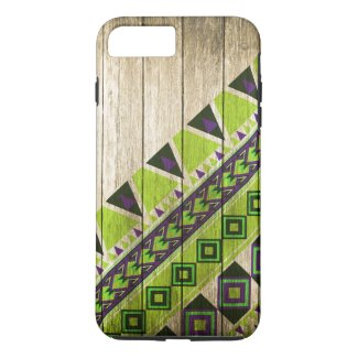 Wood Aztec Pattern Green iPhone 7 Plus Case