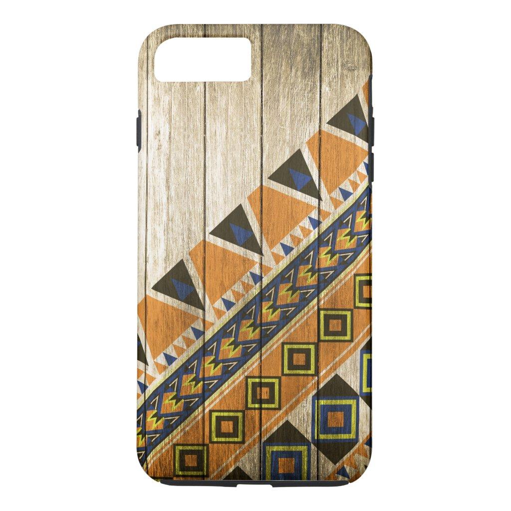 Wood Aztec Pattern Orange iPhone 7 Plus Case