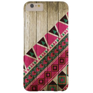 Wood Aztec Pattern Pink Barely There iPhone 6 Plus Case