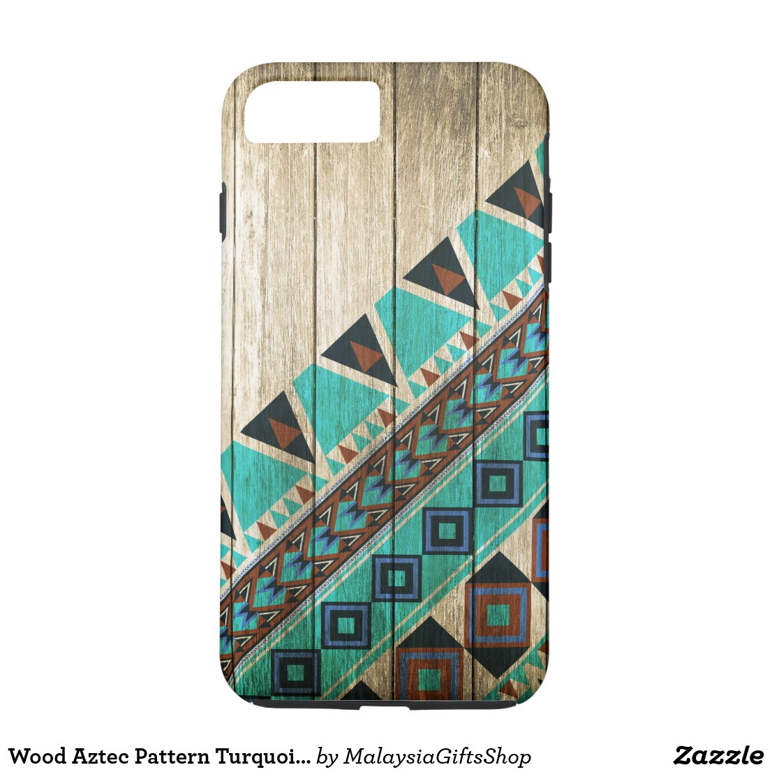 Wood Aztec Pattern Turquoise iPhone 7 Plus Case