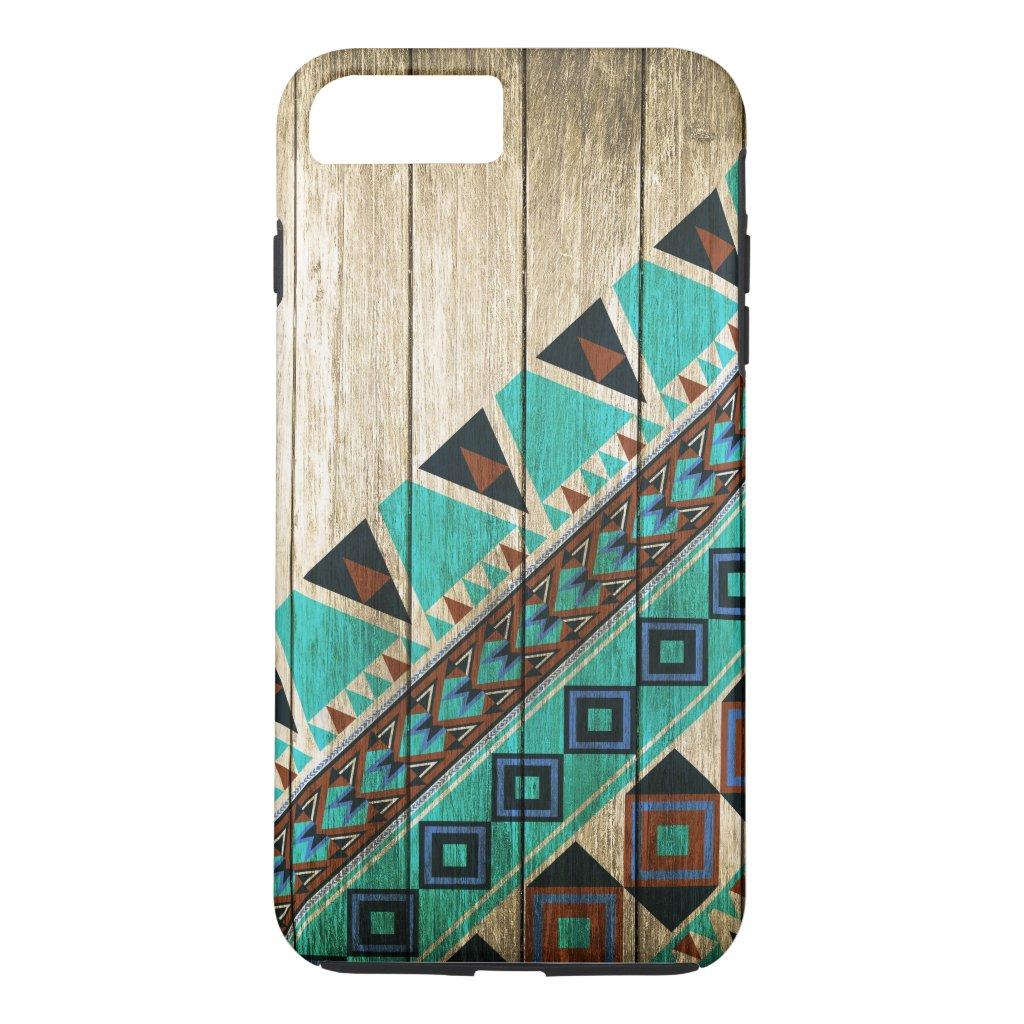 Wood Aztec Pattern Turquoise iPhone 7 Plus Case