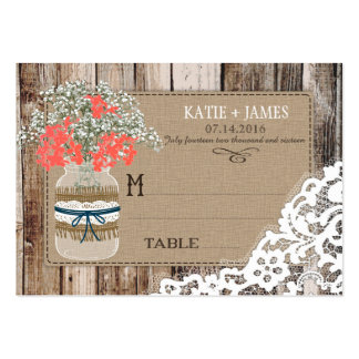 Wood Baby's Breath Lace Rustic Wedding Place Cards Large Business Card