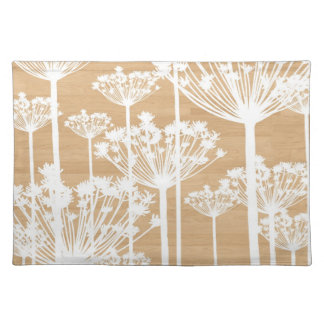 Wood background flowers girly floral pattern chic cloth placemat