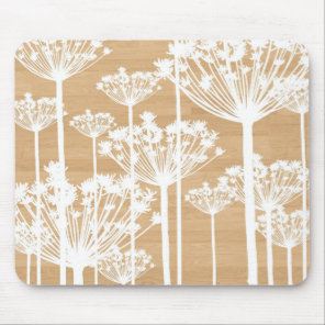 Wood background flowers girly floral pattern chic mouse pad
