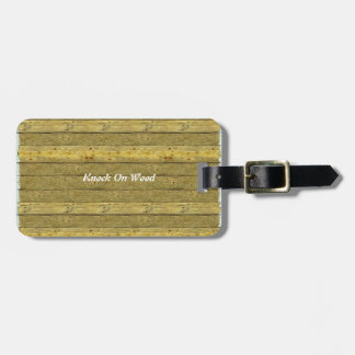 Wood Background Fun Luggage Tag With Leather Strap