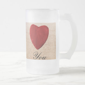 Wood background Love you Frosted Glass Beer Mug