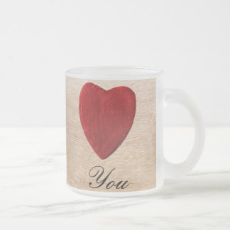 Wood background Love you Frosted Glass Coffee Mug