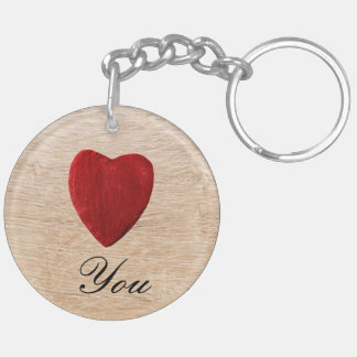 Wood background Love you Keychain