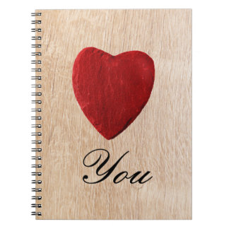 Wood background Love you Notebook
