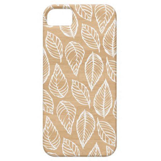 Wood background rustic chic leaves nature pattern iPhone 5 cases