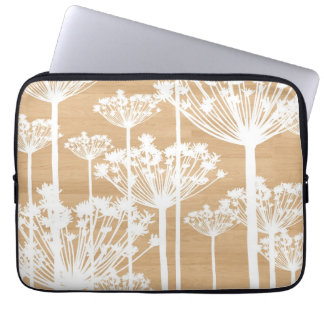 Wood background wish flowers girly floral pattern computer sleeve