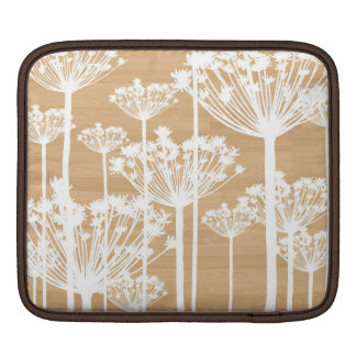 Wood background wish flowers girly floral pattern sleeve for iPads