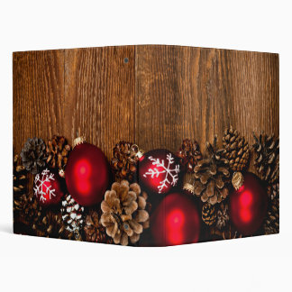 Wood background with Christmas ornaments 3 Ring Binders