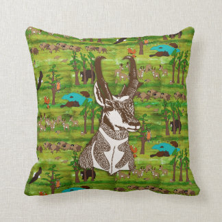 Wood Badge Scenery Pillow With Antelope