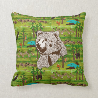 Wood Badge Scenery Pillow With Bear
