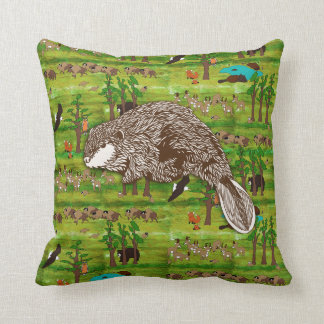 Wood Badge Scenery Pillow With Beaver