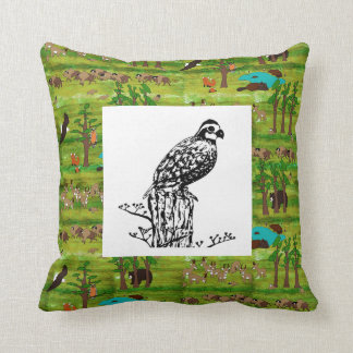 Wood Badge Scenery Pillow With Bobwhite