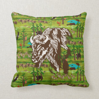 Wood Badge Scenery Pillow With Buffalo
