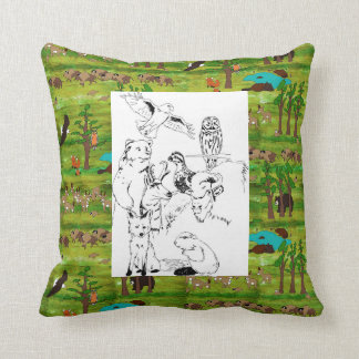Wood Badge Scenery Pillow With Critter Drawing