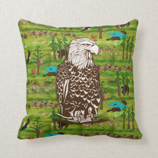 Wood Badge Scenery Pillow With Eagle