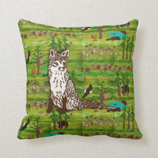 Wood Badge Scenery Pillow With Fox