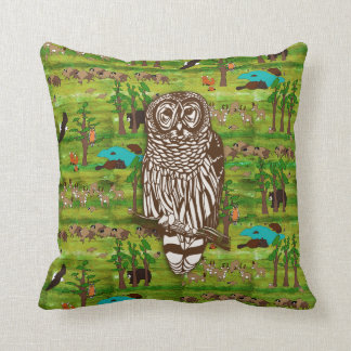 Wood Badge Scenery Pillow With Owl